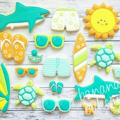 Surf and beach set just for fun! Summer Cookies, Fancy Cookies, Iced Cookies, Cut Out Cookies, Cute Cookies, Cupcake Cookies, Shark Cookies, Cookie Crush, Decorated Cookies