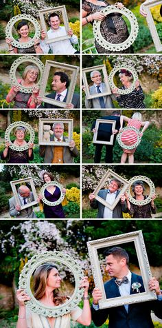 Fun with picture frames....idea for photographer of all the people who come to the wedding adding a thought...don't know about the rear end ones though!
