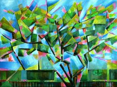 """Cubistic spring at Voorburg - 05-05-16"" by Corné Akkers. Oil painting on Canvas, Subject: Landscapes, sea and sky, Geometric style, One of a kind artwork, Signed on the front, This artwork is sold unframed, Size: 80 x 60 x 2 cm (unframed), 31.5 x 23.62 x 0.79 in (unframed), Materials: oil paint on linen"