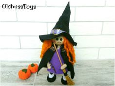 Halloween Witch Doll Crochet Witch Halloween decor от OlchussToys