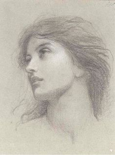 Thomas Francis Dicksee - Study for the head of the damsel in 'Chivalry'
