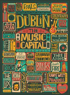 Live music this summer in Dublin - hand lettered