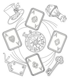 Alice in wonderland free downloadable coloring page - illustration by Jeggle.co.uk