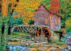 Glade Creek Grist Mill - Jigsaw Puzzle by Masterpieces (discon) Old Grist Mill, Architecture Background, Hdr Photography, Fall Pictures, Old Barns, Covered Bridges, Puzzle Art, West Virginia, New England