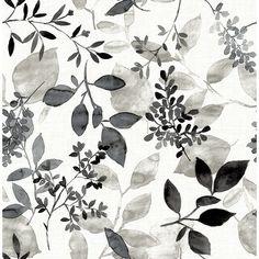 Hermione, Gossamer Black Botanical Wallpaper