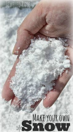 Two ingredient snow play recipe- this stuff is amazing!  Naturally cold and feels just like fresh powder in your hands