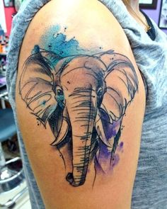 Generally, tattoos are thought of as cool symbols. It permits tattoos to stay in its original form. The absolute most awesome water color tattoos you'll ever see, guaranteed. Watercolor Elephant Tattoos, Elephant Tattoo Design, Tattoo Watercolor, Body Art Tattoos, New Tattoos, Sleeve Tattoos, Phoenix Tattoos, Tatoos, Trendy Tattoos