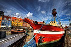 onceuponatimeineurope:  Nyhavn - Boat Roped Up For The Day by MrBall on Flickr. Copenhagen Nyhavn, Copenhagen, Sealand, Denmark