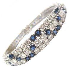 Beautiful Blue Sapphire Diamond and Gold Bracelet