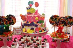 Candy Land party from Couture Celebrations #candyland #party #parties #birthday #rainbow #cake #birthdaycake