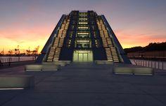 Willy Meyer+Sohn GmbH+Co. KG - Lichttechnische Spezialfabrik - Docklands Line Light, Opera House, Skyscraper, Multi Story Building, Stairs, Lighting, Travel, Projects, Stairways