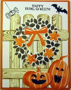 Maria's Halloween card: Wondrous Wreath & its framelits, Fall Fest & its framelits, Hardwood, Tee-Hee-Hee, Googly Ghouls, & more. All supplies from Stampin' Up!