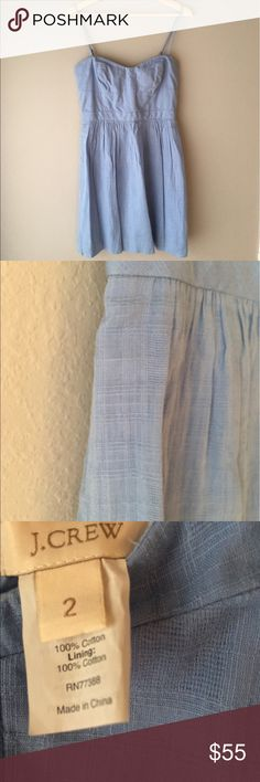 J Crew Belinda dress in cotton gauze Belinda dress in cotton gauze. Baby blue with removable and adjustable spaghetti straps. Fully lined and machine washable. 100% cotton. Style #43406 J. Crew Dresses Strapless