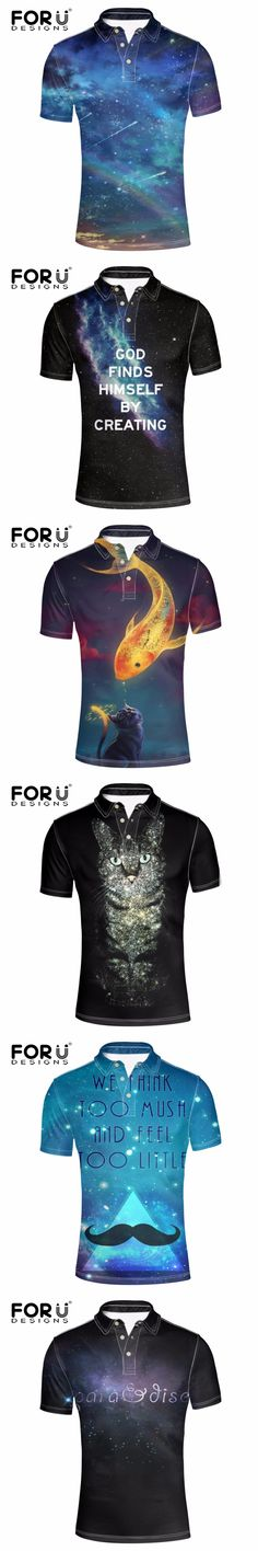 FORUDESIGNS New Harajuku Style Polos Shirt for Men Clothes Cool Letters Polo Shirt Short Sleeved Business&Casual Man Polo Shirt