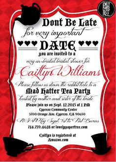 Mad Hatter's Tea Party Bridal Shower Invitation by LovelyPaperTree, $12.00