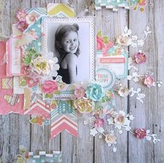 Beautiful layout shared with us by Keren Tamir using our Simple Stories Vintage Bliss collection i have these papers do this as 2 x pages Baby Scrapbook, Scrapbook Paper Crafts, Scrapbook Cards, Paper Crafting, Scrapbook Layout Sketches, Scrapbooking Layouts, Scrapbook Patterns, Picture Layouts, Kids Pages