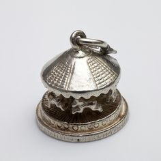 British VINTAGE Solid Sterling Silver Charm - Moving Carousel - available @ le-grenier.com