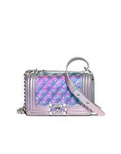 2f62ee9c17ac Small BOY CHANEL handbag, pvc, iridescent patent calfskin & silver-tone  metal