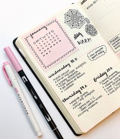 "studyinginstyle: ""My bullet journal spread from last week :) I've been really loving baby pink for January  """