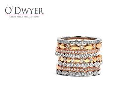 Juliet Collection - 18ct yellow, white and red gold rings with diamonds.