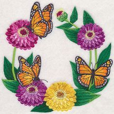 Monarch and Zinnia Wreath design (M8204) from www.Emblibrary.com