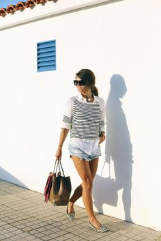 Striped tops and denim shorts.
