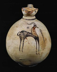 CYPRIOT Jug with black-figured gazelle. Painted terracotta, From Cyprus Haaretz Museum, Tel Aviv, Israel Ancient Greek Art, Ancient Greece, Ancient History, Art History, African Pottery, Native American Pottery, Ceramic Pottery, Pottery Art, Minoan Art