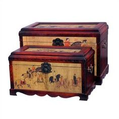 Oriental Furniture Galloping Horses Oriental Storage Box Set