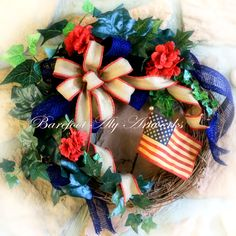 Large~Handmade~Antiqued~Summer~Fourth of July~RUSTIC WREATH~Red,Tan,Blue~Floral~Patriotic~Burlap~Bow~Ivy~Garden~Father's Day~Gift~Decoration by BarefootAlyArtworks on Etsy