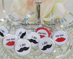 I DO Wedding Favors Labels Mustache Lips by PartyPerksPrints, $9.00