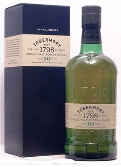 Tobermory 10 Year Old: A world renowned single malt as unique as this deserves to be held in a bottle with real character. The specially selected glass proudly embraces the past; paying homage to the distinctive old green bottle and referencing some of the qualities of the historic Tobermory packaging. The bottle is presented in a quality gift carton.