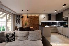 Dom w Rudzie Śląskiej - Realizacja Living Room Kitchen, Home Decor Kitchen, Kitchen Interior, Home Interior Design, Living Room Decor, Living Rooms, Küchen Design, Design Case, House Design