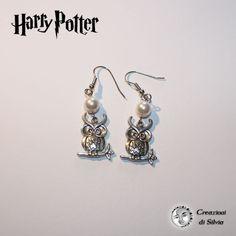 Orecchini Harry Potter color argento con gufo