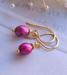 Fuschia Pearl Earrings  Gold Vermeil and Genuine by lecollezione, $22.00