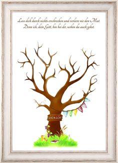 Personalisiertes Geschenk zur Kommunion und Konfirmation, Fingerabdruck-Baum Poster 29x42cm, Alternative zum Gästebuch Kommunion & Konfirmation