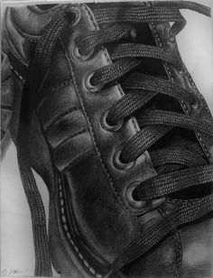 pencil drawing  (Teachers:  Remember having your students draw their shoes as an art lesson?)