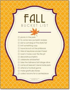 My fall bucket list.