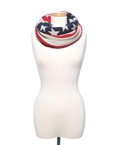 D&Y American Flag Knit Infinity Scarf