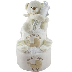 Baby Shower Nappy Cake including personalised bib and burp cloth for only £39.99 at Heavensent baby Gifts