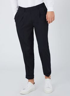 8dd5e57eeab1 Navy Pinstripe Tapered Crop Trousers