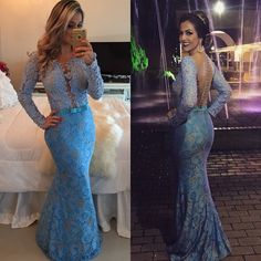 179 usd.Long Sleeves Lace Prom Dresses,Blue Prom Dress,Modest Prom Gown,Formal Gowns with Sleeves,Mermaid Evening Dress,Backless Evening Gowns,Party Gowns Long