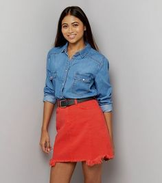 Petite Red Frayed Hem Mini Skirt