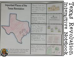 4th Grade Texas History--Texas Revolution foldable for important places including the Alamo, Gonzalez, Goliad, Washington-on-the-Brazos, and San Jacinto.  Great for interactive notebooks - INB.