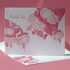 A shy, two spotted ladybug hides within these fuchsia leaves. Can you spot her? Letterpress printed in dazzling bright pink on pearl white paper, this thank you card is blank inside for your personal, handwritten greeting. $5    This card is also available as a blank note.