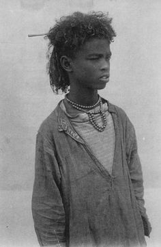 Africa | Bisharin boy.  Egypt. | Scanned old postcard