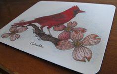 "Mouse Pad with Original Pen and Ink Drawing of Cardinal and Dogwood -""Cardinalidae"""