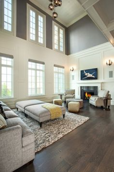 Living Room #trim #gray #dark floors