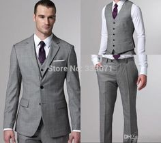 2017 Custom Made Groom Tuxedos Business Suit Blazers s Wedding Suits For Men Two Buttons Cheap Bridegroom Jacket Pants Vest