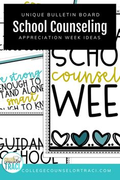College and career readiness starts with honoring your school counselors! Do you need National School Counseling Week Ideas? Shop College Counselor Traci for more designs! Check out this resource to help you honor your school counselors! Counselor Bulletin Boards, College Bulletin Boards, Counselor Office, College Cheer, College Success, College Hacks, National School Counseling Week, Effective Study Tips, College Information