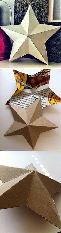 Karácsonyi dekoráció müzlis dobozból - 3D star from cardboard